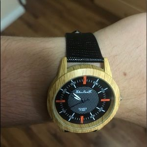 Accessories - Beautiful wooden crocodile leather strap watch